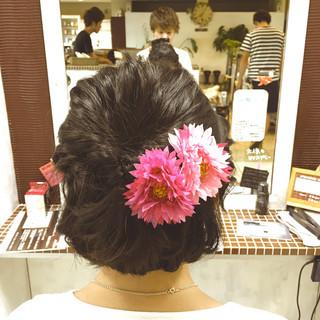 ボブ ハーフアップ ショートボブ 花火大会 ヘアスタイルや髪型の写真・画像