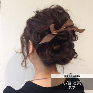ゆるふわ ヘアアレンジ ミディアム 波ウェーブ ヘアスタイルや髪型の写真・画像