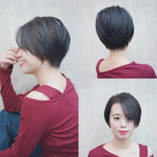 ショートボブ ナチュラル ショート ハンサムショート ヘアスタイルや髪型の写真・画像