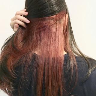 インナーピンク ブリーチ インナーカラー ロング ヘアスタイルや髪型の写真・画像