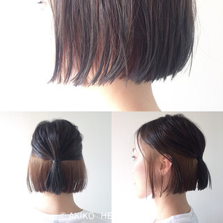 インナーカラー ハイライト ナチュラル 外ハネ ヘアスタイルや髪型の写真・画像