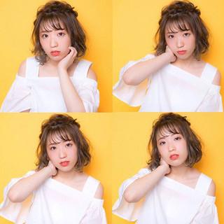 シースルーバング ヘアアレンジ 簡単ヘアアレンジ 前髪あり ヘアスタイルや髪型の写真・画像 ヘアスタイルや髪型の写真・画像