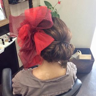 セミロング 結婚式 成人式 ガーリー ヘアスタイルや髪型の写真・画像