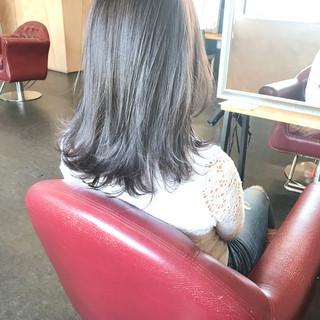 透明感カラー 透明感 ナチュラル セミロング ヘアスタイルや髪型の写真・画像