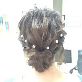ボブ 波ウェーブ ヘアアレンジ コンサバ ヘアスタイルや髪型の写真・画像