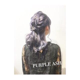 ブルージュ パープル ヘアアレンジ アッシュ ヘアスタイルや髪型の写真・画像