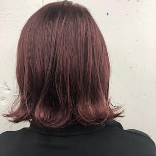 ボルドー ボブ ストリート ピンク ヘアスタイルや髪型の写真・画像