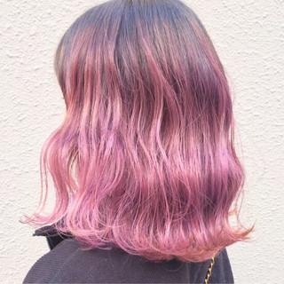 グラデーションカラー ストリート ピンク ゆるふわ ヘアスタイルや髪型の写真・画像