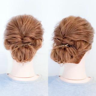 簡単ヘアアレンジ ロング フェミニン 結婚式 ヘアスタイルや髪型の写真・画像