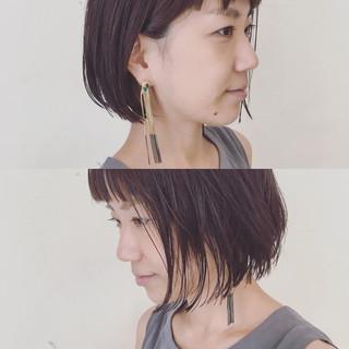 ボブ 切りっぱなし 抜け感 束感 ヘアスタイルや髪型の写真・画像