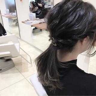 大人女子 ヘアアレンジ 暗髪 ミディアム ヘアスタイルや髪型の写真・画像