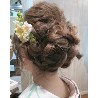 結婚式 謝恩会 ヘアアレンジ セミロング ヘアスタイルや髪型の写真・画像