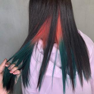 派手髪 裾カラー ストリート グラデーションカラー ヘアスタイルや髪型の写真・画像