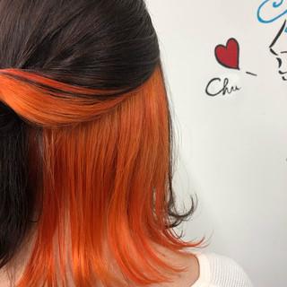 ブリーチ インナーカラー 黒髪 ストリート ヘアスタイルや髪型の写真・画像