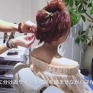 ヘアアレンジ フェミニン  ナチュラル ヘアスタイルや髪型の写真・画像