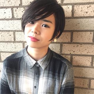 大人かわいい 黒髪 アッシュ うざバング ヘアスタイルや髪型の写真・画像