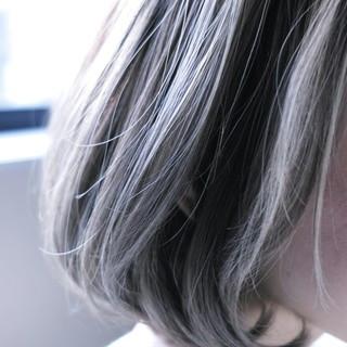 外国人風 ナチュラル ボブ ハイライト ヘアスタイルや髪型の写真・画像