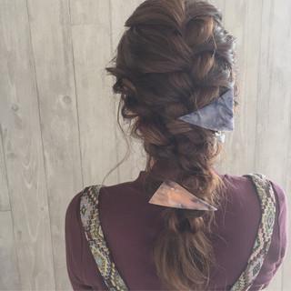 ロング ゆるふわ 編み込み ヘアアレンジ ヘアスタイルや髪型の写真・画像