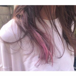 ユニコーンカラー 切りっぱなしボブ グラデーションカラー ロング ヘアスタイルや髪型の写真・画像