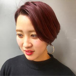 ショート ショートボブ ストリート ベリーピンク ヘアスタイルや髪型の写真・画像