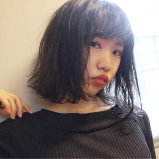 フリンジバング 大人女子 色気 ボブ ヘアスタイルや髪型の写真・画像