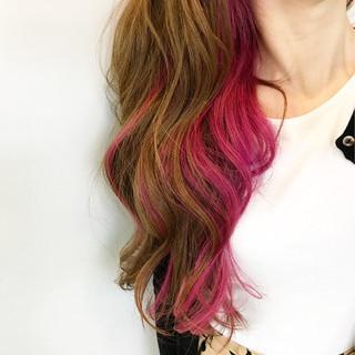 インナーカラー ゆるふわ ロング レッド ヘアスタイルや髪型の写真・画像 ヘアスタイルや髪型の写真・画像