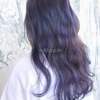 パープル ラベンダーカラー パープルアッシュ ナチュラル ヘアスタイルや髪型の写真・画像