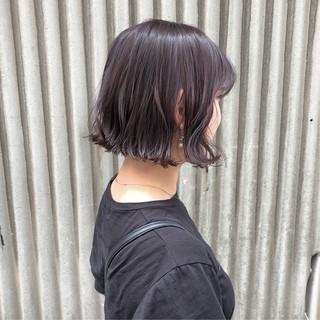 切りっぱなしボブ 透明感カラー デート ボブ ヘアスタイルや髪型の写真・画像