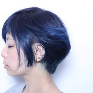 ネイビー モード ブルー グラデーションカラー ヘアスタイルや髪型の写真・画像