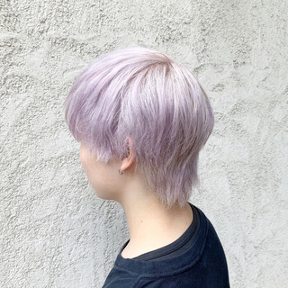 ブリーチ ホワイトカラー ピンクパープル ハイトーンカラー ヘアスタイルや髪型の写真・画像