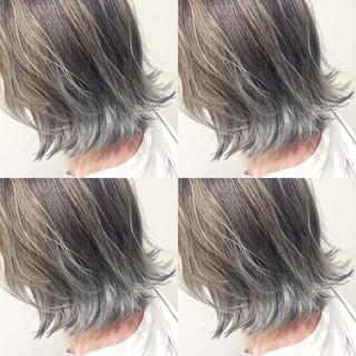 アッシュ ハイライト グラデーションカラー ボブ ヘアスタイルや髪型の写真・画像