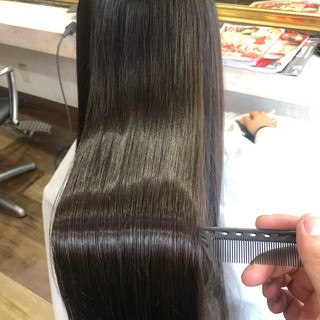 髪質改善カラー ロング 髪質改善トリートメント ナチュラル ヘアスタイルや髪型の写真・画像