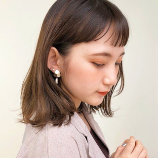 ワンカールスタイリング ミディアム フェミニン 外ハネ ヘアスタイルや髪型の写真・画像