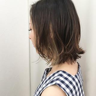 外国人風カラー ボブ インナーカラー アッシュ ヘアスタイルや髪型の写真・画像