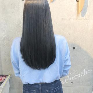 モード ロング ブルー ネイビー ヘアスタイルや髪型の写真・画像