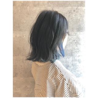 インナーカラー ボブ ナチュラル 大人女子 ヘアスタイルや髪型の写真・画像