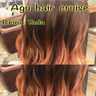 グラデーションカラー レッド ピンク きゃりーぱみゅぱみゅ ヘアスタイルや髪型の写真・画像
