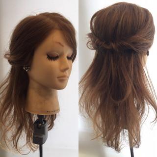 ハーフアップ 簡単ヘアアレンジ セミロング くるりんぱ ヘアスタイルや髪型の写真・画像