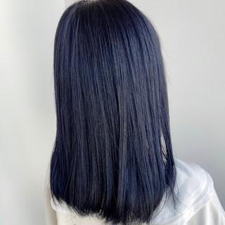 ネイビーブルー モード ブルーアッシュ ブルー ヘアスタイルや髪型の写真・画像