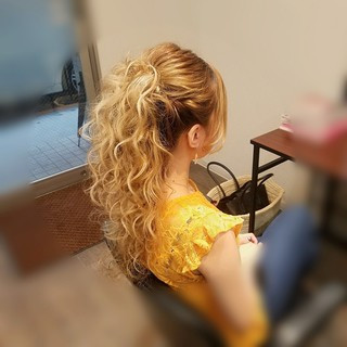 ロング ヘアアレンジ ハーフアップ ポニーテール ヘアスタイルや髪型の写真・画像