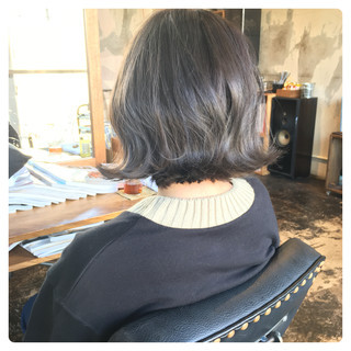 韓国ヘア フェミニン グレージュ ボブ ヘアスタイルや髪型の写真・画像