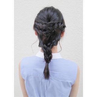 編み込み ガーリー 簡単ヘアアレンジ 大人かわいい ヘアスタイルや髪型の写真・画像 ヘアスタイルや髪型の写真・画像