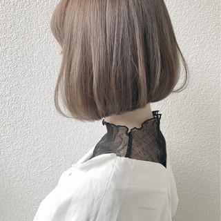 ボブ ミルクティー グレージュ ミルクティーベージュ ヘアスタイルや髪型の写真・画像