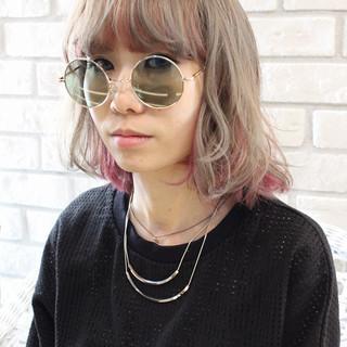 透明感 ハイライト ミディアム ハイトーン ヘアスタイルや髪型の写真・画像