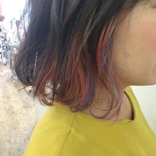 ボブ ガーリー パープル インナーカラー ヘアスタイルや髪型の写真・画像