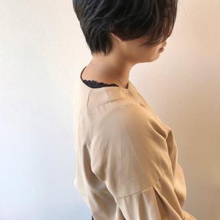 秋冬スタイル ナチュラル ハンサムショート 黒髪ショート ヘアスタイルや髪型の写真・画像
