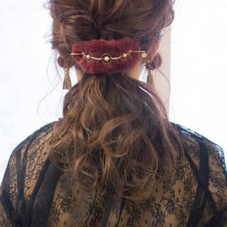 結婚式 抜け感 謝恩会 ロング ヘアスタイルや髪型の写真・画像
