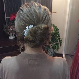 簡単ヘアアレンジ ナチュラル セミロング 結婚式 ヘアスタイルや髪型の写真・画像