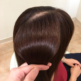 フェミニン オフィス ロング ベリーピンク ヘアスタイルや髪型の写真・画像