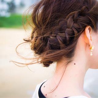 外国人風 セミロング ヘアアレンジ ショート ヘアスタイルや髪型の写真・画像